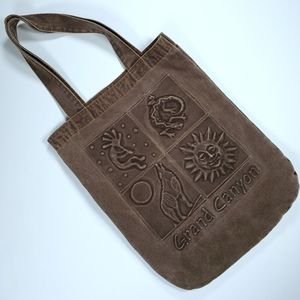 Grand Canyon Park Embossed Canvas Tote Bag Brown